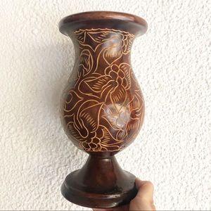 Vintage Hand Carved Mid Century  Vase